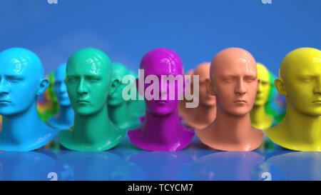 3D Render. Clonación de figuras humanoides