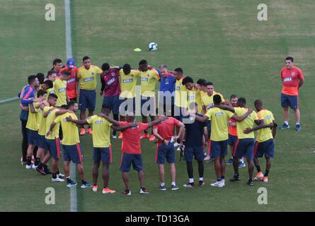 Salvador, Brasil. 11 de junio, 2019. Formación del equipo de Colombia, celebrada este martes (11), en el estadio de Pituaçu, en Salvador, Bahia, Brasil. Crédito: Tiago Caldas/FotoArena/Alamy Live News