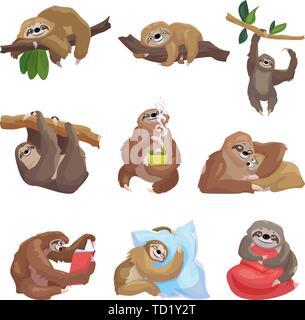 Iconos de pereza. Cartoon juego de sloth vector iconos para diseño web