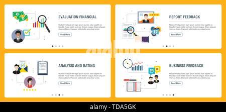 Banners Web Concepto de vector con informe de evaluación financiera, valoración, análisis y clasificación, retroalimentación de negocios. Internet sitio Web banner concepto con
