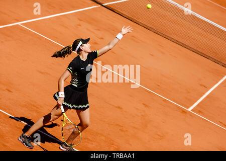 París, Francia. El 2 de junio de 2019. Johanna Konta desde Gran Bretaña en acción durante su tercera victoria en el año 2019 French Open Grand Slam en el torneo de tenis de Roland Garros, París, Francia. Frank Molter/Alamy Live News