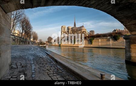 Por la mañana la vista de la catedral de Notre Dame, París, Francia, durante el invierno desde el terraplén del río Sena con el puente. Foto de stock