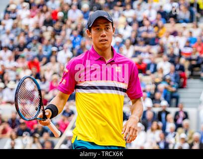 París, Francia, el 3 de junio, 2019, el tenis, el Abierto de Francia, Roland Garros, Kei Nishikori (JPN) Credit: Henk Koster/Alamy Live News