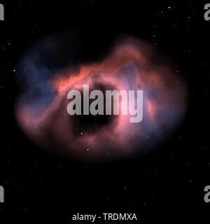 Ilustración de una nebulosa naranja en el espacio