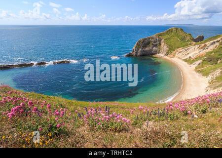 El hombre o la guerra Bay cerca de la puerta de durdle, Costa Jurásica, South Coast, Dorset, Inglaterra, Reino Unido, gb