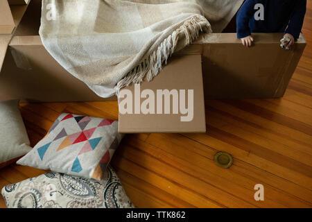 Niño juega adentro en avión de cartón cubierto con una manta