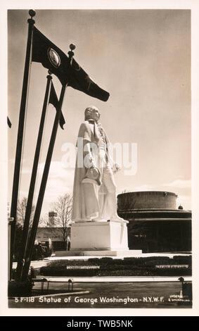 La estatua de George Washington - La Feria Mundial de Nueva York en el Flushing Meadows Corona Park (), Queen's, en la ciudad de Nueva York, EE.UU.. Fecha: 1939