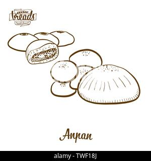 Pan Anpan dibujo vectorial. Boceto de alimentos dulces bun, generalmente conocido en Japón. Ilustración de la serie de panadería.