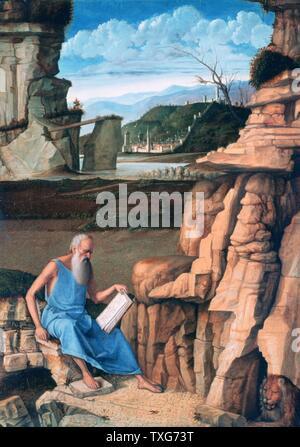 Giovanni Bellini escuela italiana San Jerónimo leyendo en un paisaje - San Jerónimo (340-420), un padre de la iglesia cristiana occidental y compilador de la Vulgata Temple y Oleo sobre madera