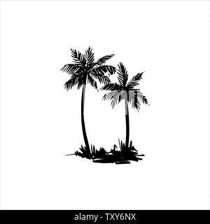 Vector ilustración dibujada a mano de palmera tropical