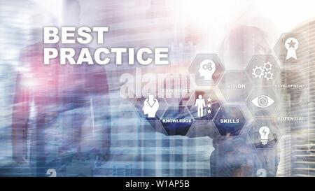 La mejor práctica en la pantalla virtual. Negocios, tecnología, Internet y el concepto de red
