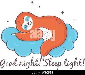 Pereza dormir en una nube. Buenas noches! Duerma bien!! Cute ilustración vectorial aislado sobre fondo blanco.