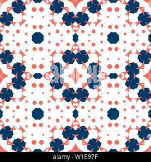 salón coral y azul Mosaico Sin Fisuras Ornamento CORAL En Rojo Y Azul