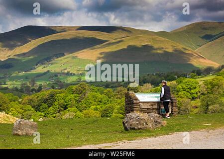 Sedbergh, Cumbria, Reino Unido, y Frostrow Soolbank, visitante a Tom Croft Cerro Mirador disfrutando la vista de Howgill Fells