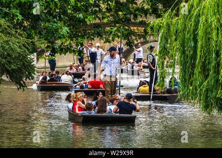 Remar en Cambridge - Cambridge - Turismo turistas remar a lo largo del río Cam en el centro de Cambridge, Reino Unido