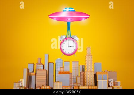 Representación 3D de rosa OVNI con big pink reloj alarma suspendida en limo por debajo de ella, volando por encima de la moderna ciudad de rascacielos sobre fondo amarillo.