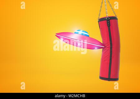 3D rendering de OVNI pequeña rosa toparte con saco de arena roja sobre fondo de color ámbar.