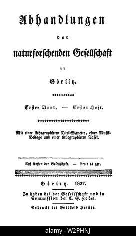 Abhandlungen der Gesellschaft Naturforschenden zu Görlitz 1827 Titel