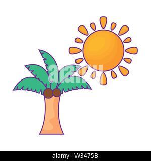 Palmera tropical con sol aislados icono diseño ilustración vectorial Foto de stock