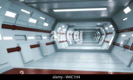 3D Render. Concepto interior arquitectura futurista