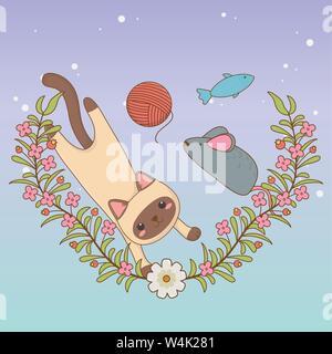 Lindo gatito mascota con rodillo de lana y un ratón de juguete, diseño de ilustraciones vectoriales