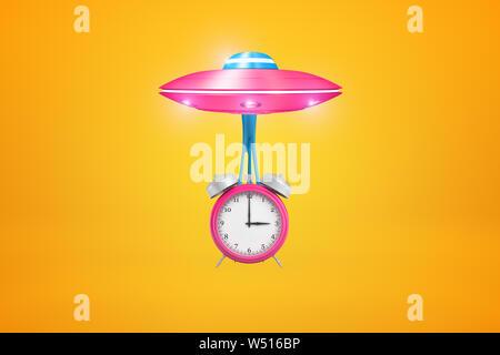 Representación 3D de rosa OVNI con big pink reloj alarma suspendida en limo por debajo de ella, volando contra el fondo de color ámbar.