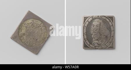 Asedio de Groningen, moneda de emergencia con retrato de Karl Rabenhaupt moneda de emergencia en forma de diamante, con esquinas redondeadas. Anverso: Escudo coronado (gran sello) entre la indicación de valor dentro de una inscripción. Reverso: busto de Rabenhaupt hacia la izquierda, dentro de un círculo, Groningen, Karl Rabenhaupt (barón von Sucha), anónimos, 1672, plata (metal), grabado, h 4,7 cm × W 4,7 cm × w 28.25