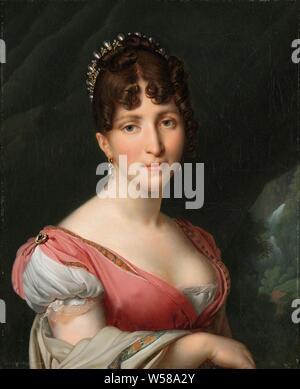 Retrato de Hortense de Beauharnais, Reina de Holanda retrato de Hortense de Beauharnais (1783-1837), Reina de Holanda, esposa del rey Luis Napoleón, esposa de Luis Napoleón, rey de Holanda. Busto hacia la derecha con una corona en su cabello, a la derecha un paisaje con una cascada, personas históricas - mujer, reina, emperatriz, etc. (esposa de un gobernante), Holanda, Hortense Eugénie de Beauharnais (Reina de Holanda), Luis Napoleón Bonaparte, Anne-Louis Girodet-Trioson, París, c. 1805 - c. 1809, tela, pintura de aceite (pintura), h 60,9 cm × W 49,8 cm h 74,7 cm × W 63,7 cm × d 8,5 cm