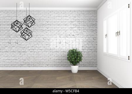 Habitación loft de diseño, con lámpara y plantas en ventanas blancas en la pared de ladrillo sobre un piso de madera. 3D rendering Foto de stock