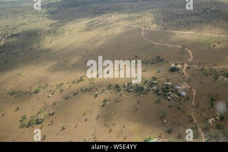 La fotografía aérea de los pastizales en el Parque nacional Serengeti, Tanzania