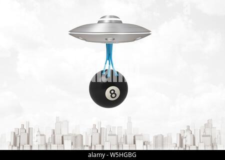 3D rendering de OVNI volando por encima de la ciudad moderna, llevando negras grandes bolas de billar con el número 8, que está colgando en la baba pegajosa azul debajo de OVNI.