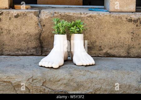 Maceta de cerámica en forma de pies crecen hierbas