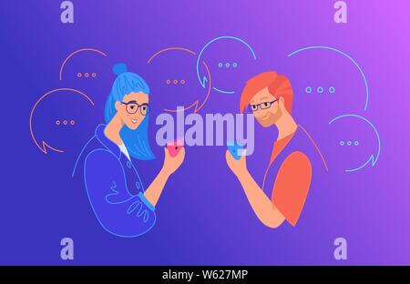 Los medios sociales de comunicación y chat concepto flat ilustración vectorial. Adolescente y niña utilizando smartphone móvil para mensajes de texto, dejando comentarios en modo