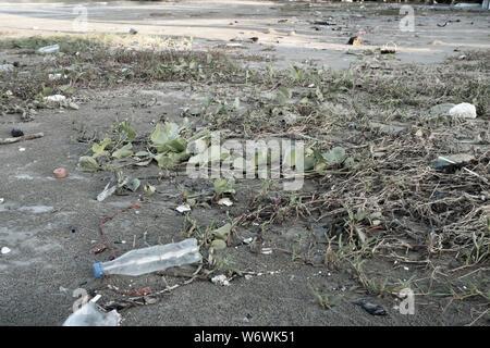 Botellas de plástico para agua la contaminación en el océano (concepto de entorno). Botella de plástico en la playa. El plástico mata a nuestras criaturas marinas.