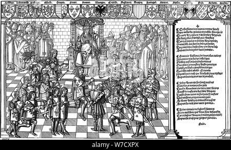 El papa Urbano II presida el Consejo de Clermont que lanzó la primera Cruzada, 1095 (1522). Artista: Desconocido