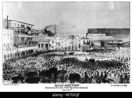 Una reunión masiva fuera de Fort vigilantes, Sacramento, California, 1856 (1937).Artista: Britton & Rey