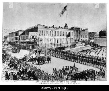 La ejecución de Hetherington y el puntal, Fort Vigilance, Sacramento, California, 1856 (1937).Artista: Britton & Rey