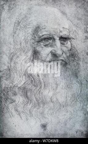 Autorretrato de Leonardo da Vinci, c1512-1515 (1954). Artista: Leonardo da Vinci