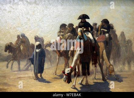 """""""General Bonaparte con su personal militar en Egipto"""", en 1863. Artista: Jean-Leon Gerome Foto de stock"""