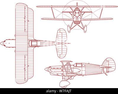 Esquema de un proyecto de ingeniería Avia B-534 de biplano, visto desde el lado de la parte superior y en la parte delantera. Este bi-avión fue producido y realizado por Avia en CZ Foto de stock