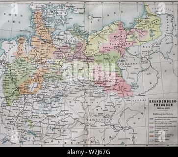 Mapa, Brandenburg-Prussia desde 1415-1869, ilustración histórica, Alemania