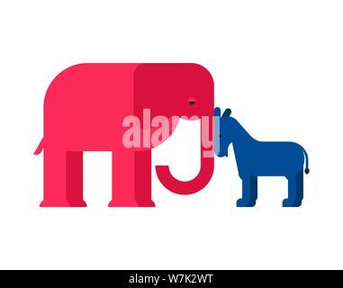 El Elefante y el burro USA. Partido Demócrata y Republicano de los Estados Unidos. Ilustración vectorial