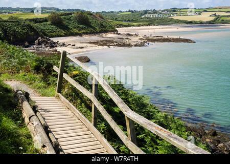 Boardwalk en Gales sendero costero alrededor de la Bahía Lligwy, Isla de Anglesey (Ynys Mon), Gales, Reino Unido, Gran Bretaña Foto de stock