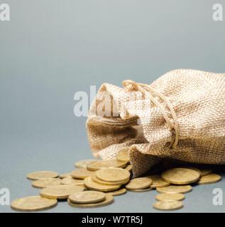 La bolsa de dinero y monedas cayendo de ella. Concepto de ahorro y la economía. Depósito. El control de costes. Los beneficios y la liquidez. La administración del efectivo. Distribución de