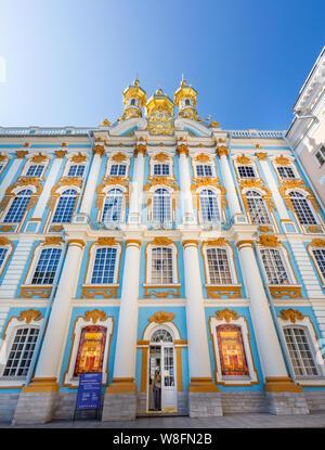 La capilla del palacio, la Iglesia de la Resurrección, en el Palacio de Catalina, Pushkin, San Petersburgo, Rusia, el 22 de julio de 2019