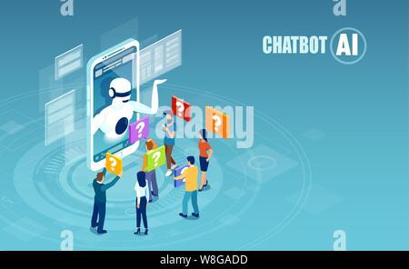 Inteligencia Artificial y chat bot concepto tecnológico. Vector de hombres y mujeres que conversan con aplicación chatbot.