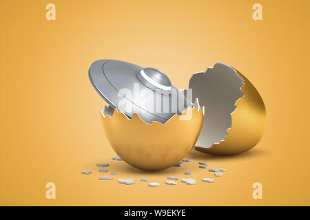 3D rendering de gris claro brillante Flying Saucer que recién nacidos fuera del huevo de oro.