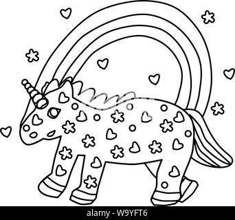 Página Para Colorear Para Niños Unicornio Ilustración Del