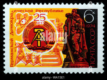 25 Aniversario de la República Democrática Alemana, sello, Rusia, URSS, 1974