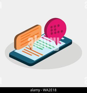 Concepto de aplicación de chat móvil isométrica ilustración vectorial